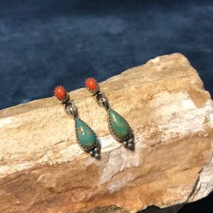 Native American Coral And Turquoise Earrings